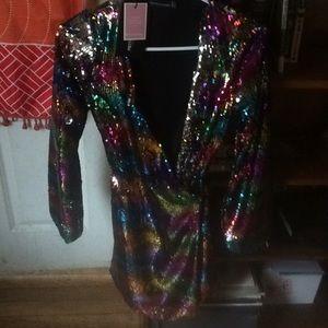 Pretty little thing rainbow sparkle wrap dress